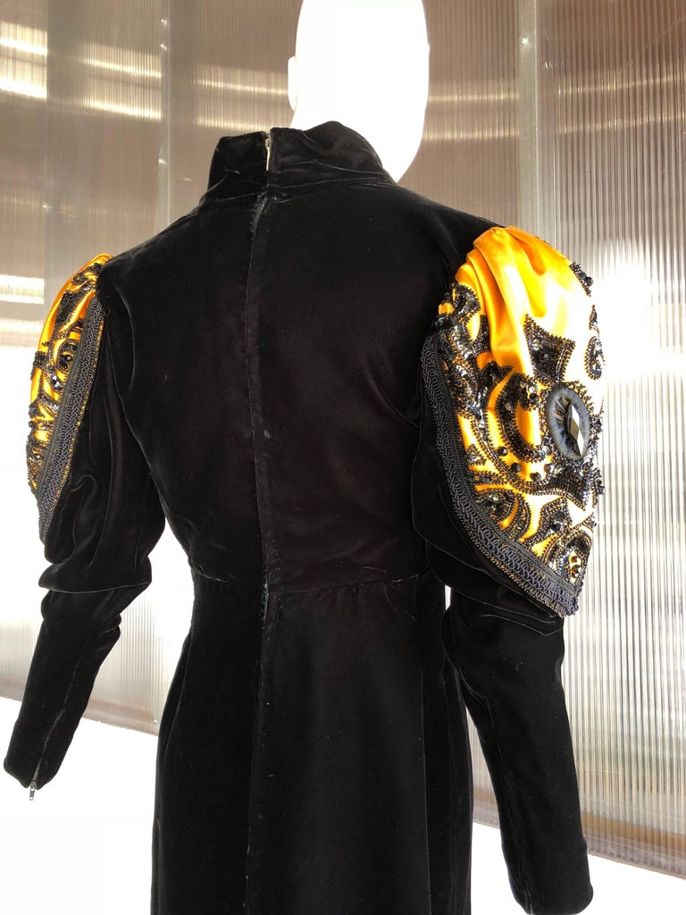 1980s Givenchy Medieval Style Black Velvet Gown with Black Jet Beading  For Sale 1