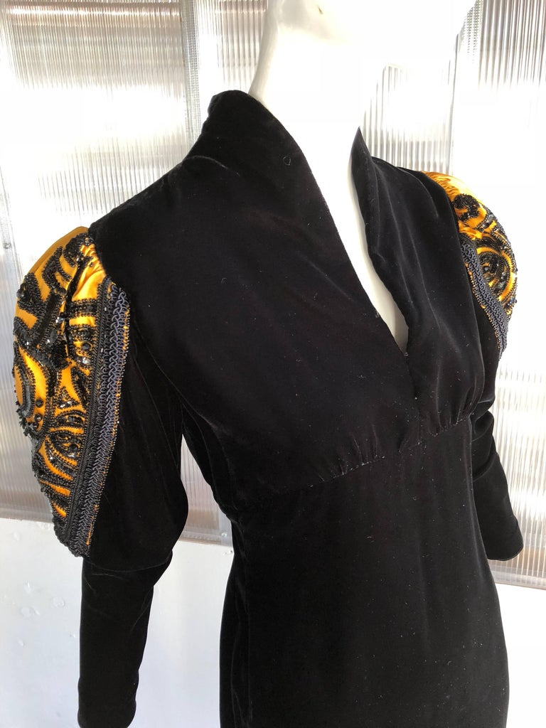 1980s Givenchy Medieval Style Black Velvet Gown with Black Jet Beading  For Sale 2