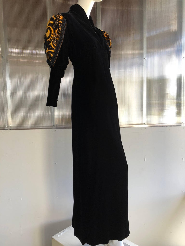 1980s Givenchy Medieval Style Black Velvet Gown with Black Jet Beading  For Sale 3