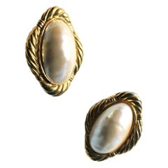 1980s Givenchy Oversize Pearl Statement Earrings with Gold Plate