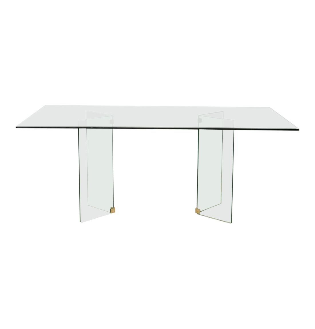 1980s Glass Dining Table Seats 6-8 People in Style of Pace Collection