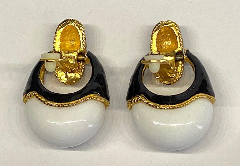 1980s Gold, Black Enamel and White Cabochon Pendant Earrings For Sale 3