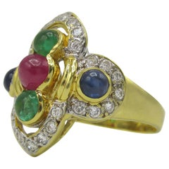 1980s Gold Diamond Ruby Sapphire and Emerald Ring