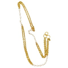 1980s Gold Double Chain Link Necklace with Faux Pearls