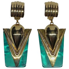 1980s Gold & Green Retro Art Deco Style Pendent Earrings