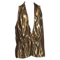 1980S Gold Lamé Low Cut Disco Halter Top