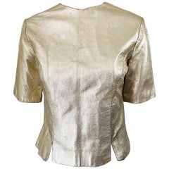 1980s Gold Leather Distressed Fabulous Vintage 80s Shirt / Top / Blouse