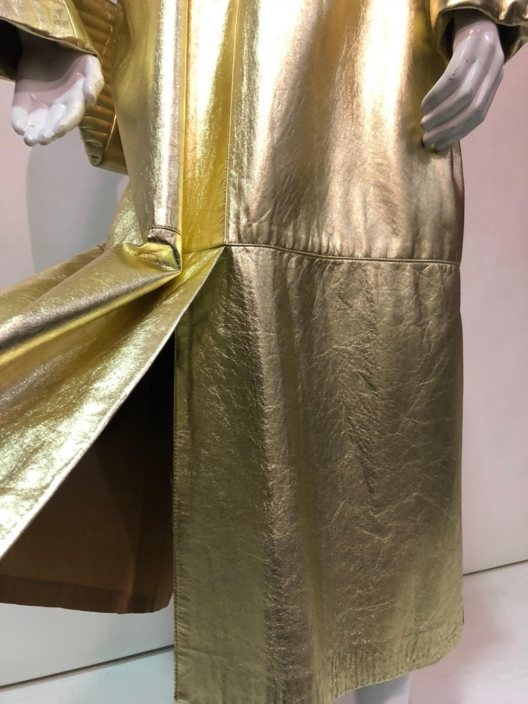 1980s Gold Leather Trench Coat And Matching Maud Frizon