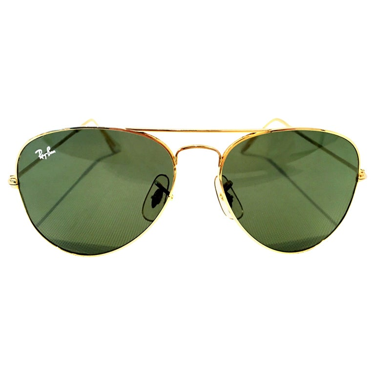 """1980'S Gold Plate """"Tear Drop"""" Aviator Sunglasses By, B&L Ray Ban USA For Sale"""