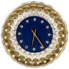 1980s Gold-Plated Crystal Glass Wall Clock Hollywood Regency JOSKA-Waldglashütte