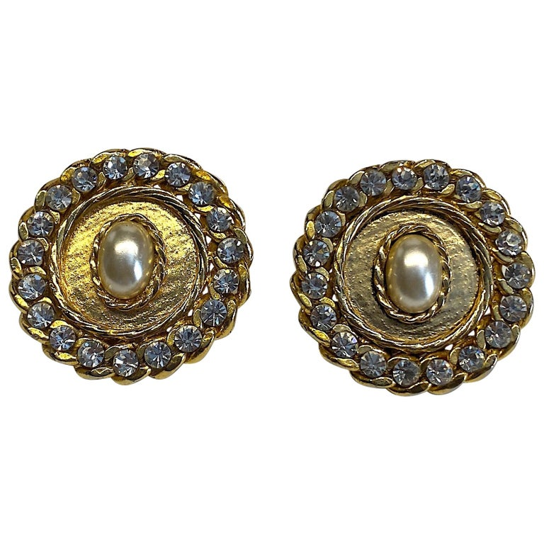 1980s Gold, Rhinestone and Pearl Curb Link Button Earrings For Sale