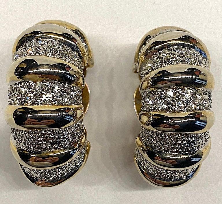 1980s Gold, Silver & Rhinestone Half Hoop Large Earrings For Sale 6
