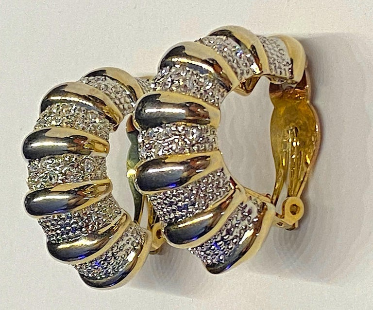 1980s Gold, Silver & Rhinestone Half Hoop Large Earrings In Good Condition For Sale In New York, NY
