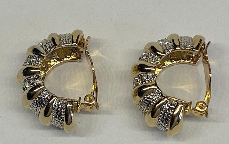 Women's 1980s Gold, Silver & Rhinestone Half Hoop Large Earrings For Sale