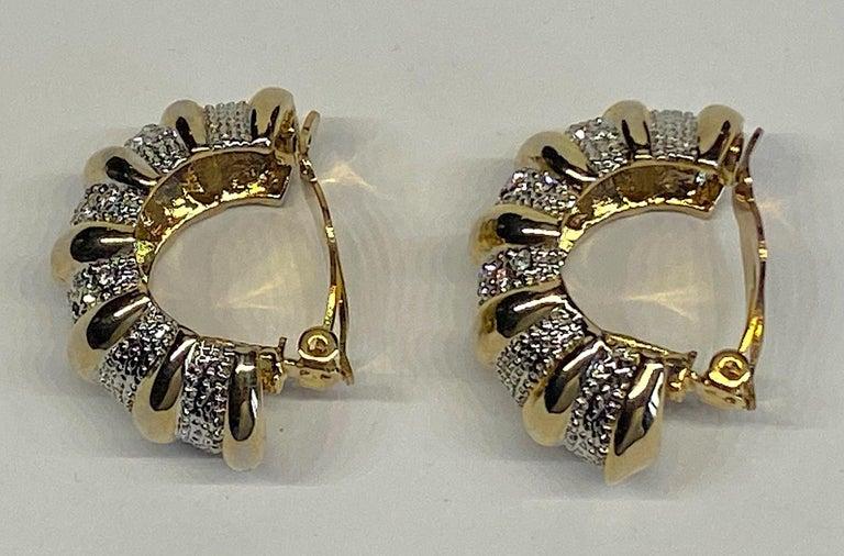 1980s Gold, Silver & Rhinestone Half Hoop Large Earrings For Sale 1
