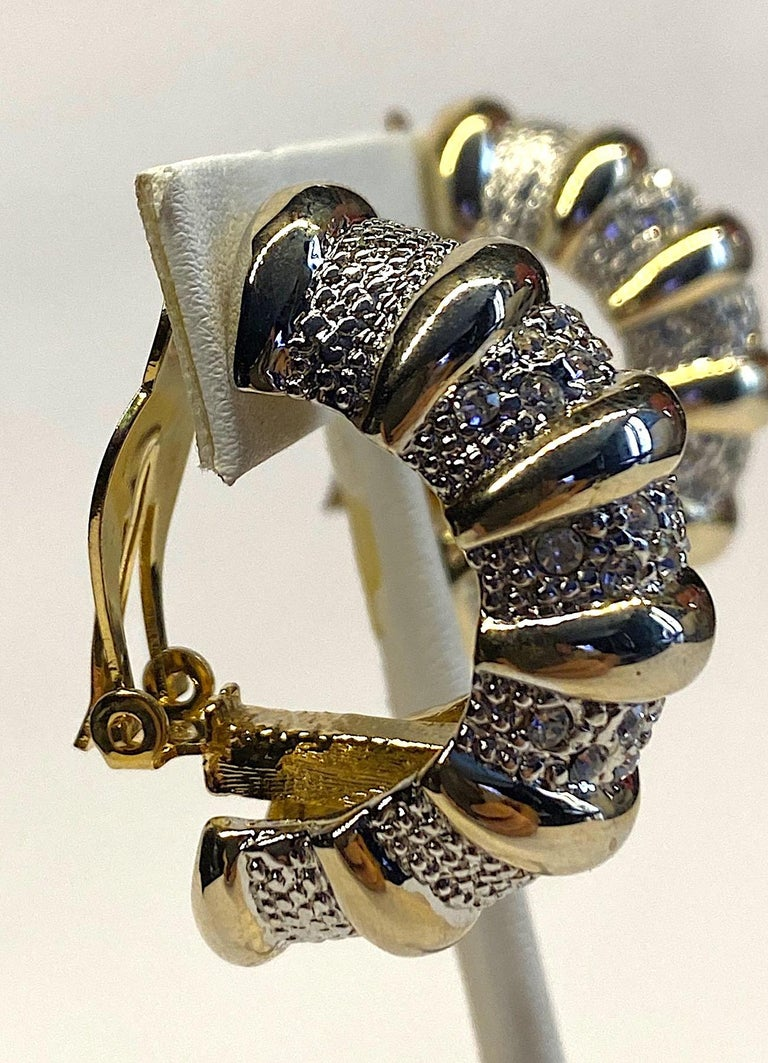 1980s Gold, Silver & Rhinestone Half Hoop Large Earrings For Sale 4