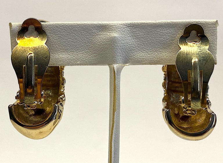 1980s Gold, Silver & Rhinestone Half Hoop Large Earrings For Sale 5