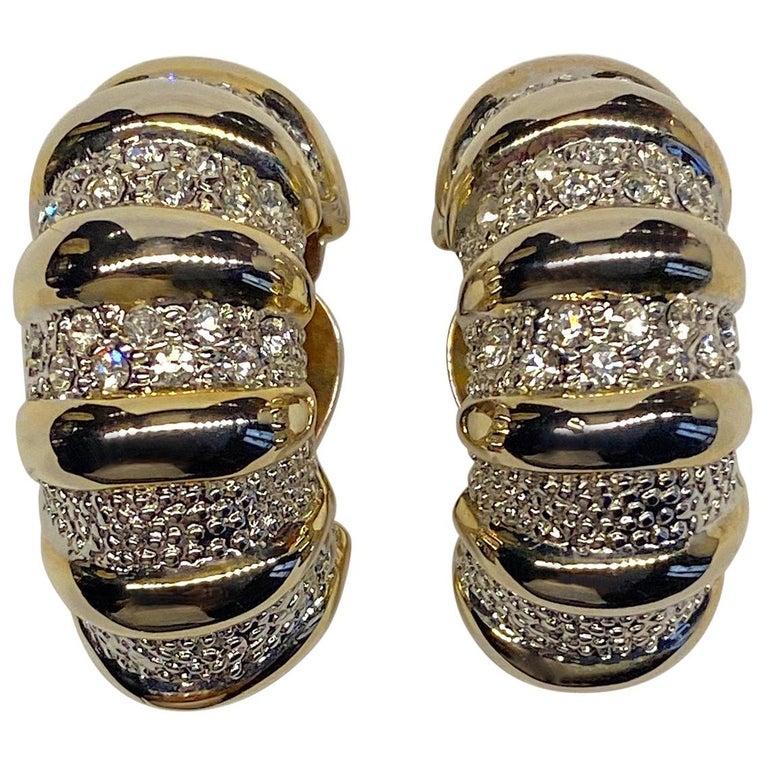 1980s Gold, Silver & Rhinestone Half Hoop Large Earrings For Sale