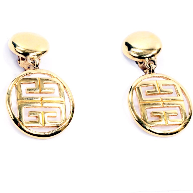 Women's 1980s Gold Tone Givenchy Clip On Round Drop Earrings w Logo For Sale