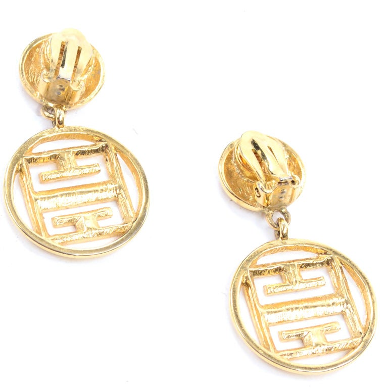 1980s Gold Tone Givenchy Clip On Round Drop Earrings w Logo For Sale 1