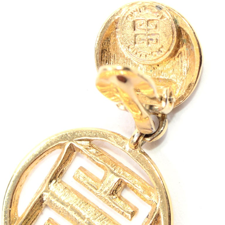 1980s Gold Tone Givenchy Clip On Round Drop Earrings w Logo For Sale 2