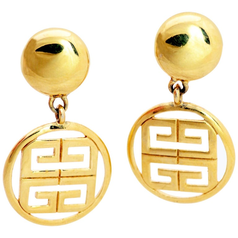 1980s Gold Tone Givenchy Clip On Round Drop Earrings w Logo For Sale
