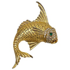 1980s Gold with Green Cabochon Eyes Fish Brooch