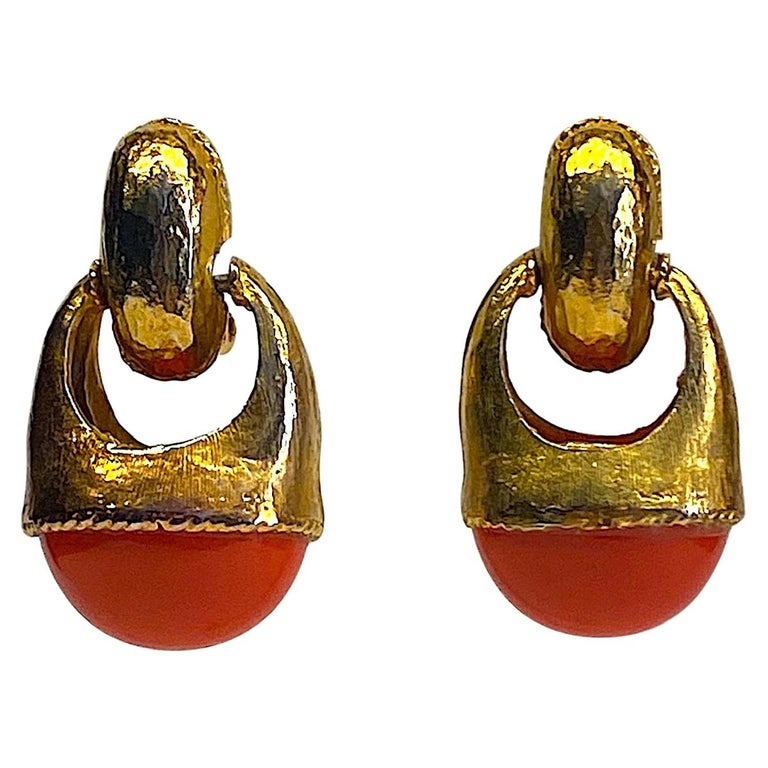 1980s Gold with Large Coral Cabochon Pendant Earrings For Sale