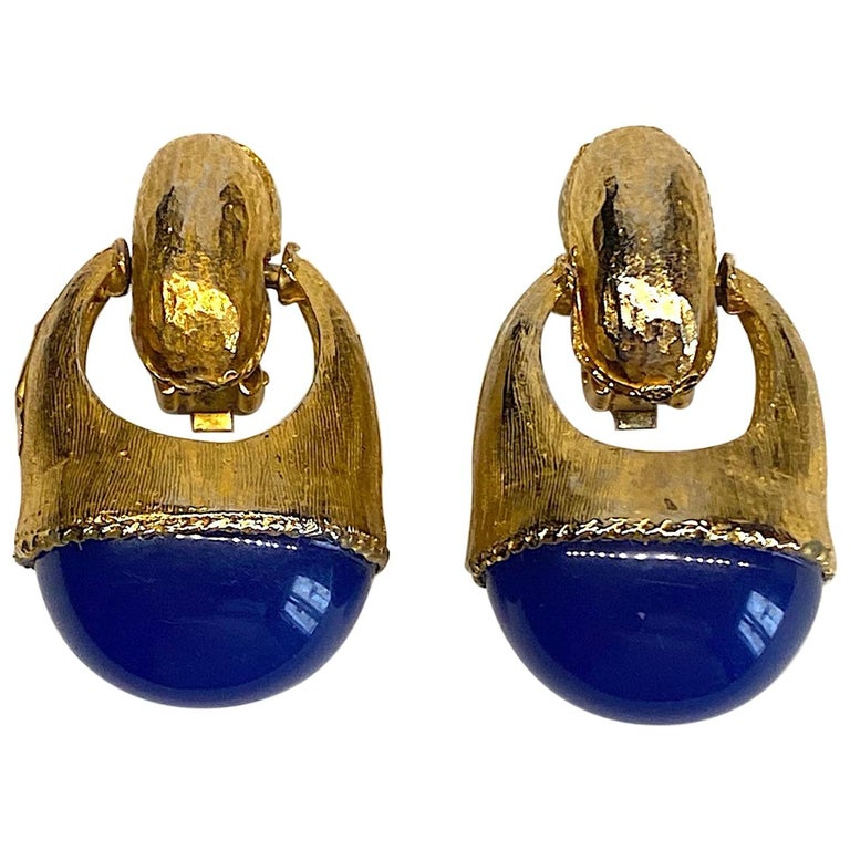 1980s Gold with Large Lapis Blue Cabochon Pendant Earrings For Sale