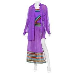 1980S  Gottex For Saks Bathing Suit, Shirt & Skirt Set