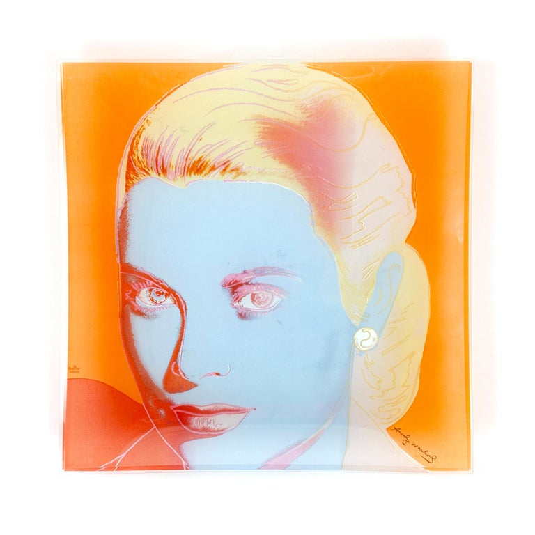 An Andy Warhol silkscreen on Rosenthal studio glass featuring the portrait of Grace Kelly.