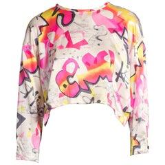 1980'S Graffiti Spray Paint Silk Satin Pink Top