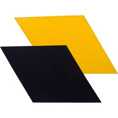 1980s Graphic Black and Yellow Abstract Painting