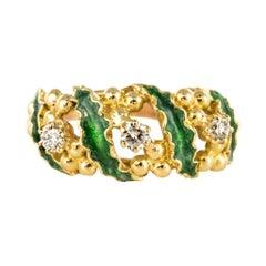1980s Green Enamel Diamond Gold Ring