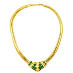 Christian Dior Green Enamel Necklace, 1980s