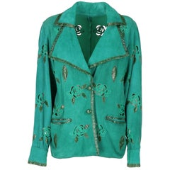 1980s Green Suede And Reptile Skin Jacket