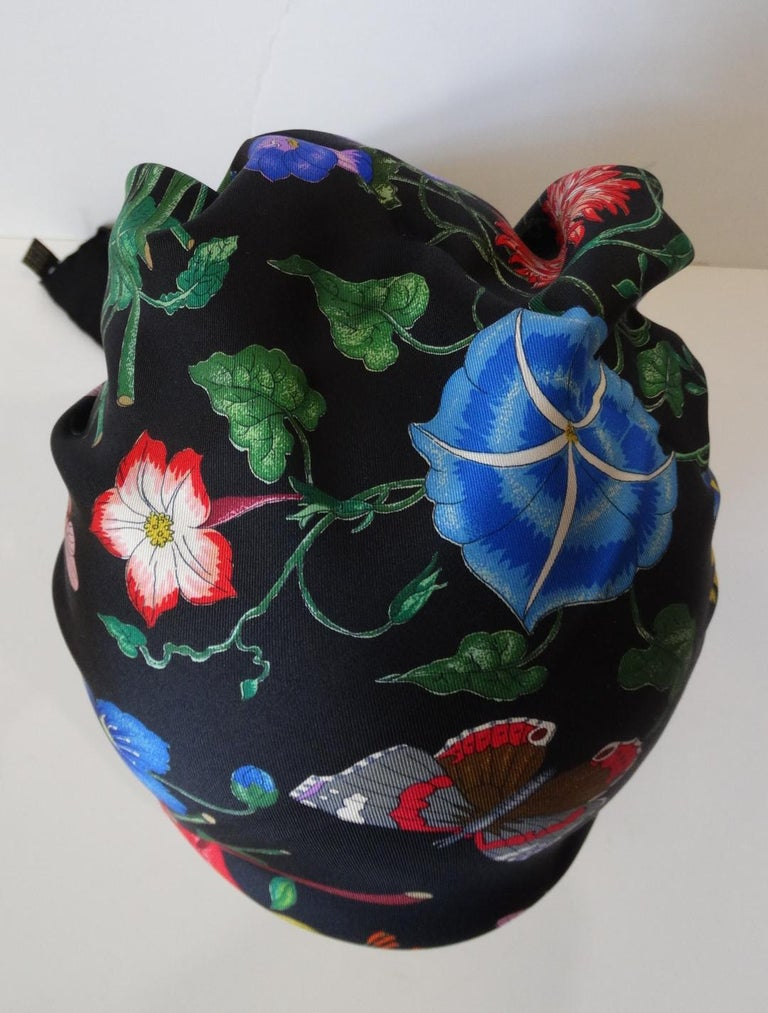 1980s Gucci Black Flora Printed Silk Scarf For Sale 6