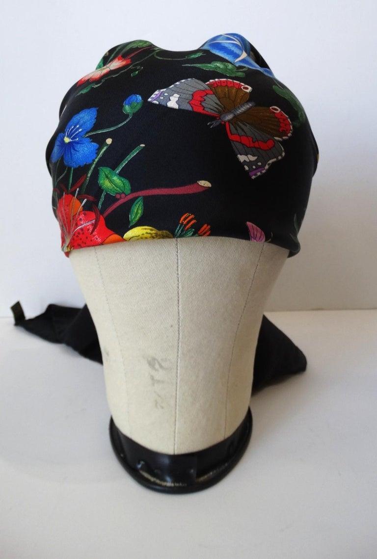 1980s Gucci Black Flora Printed Silk Scarf For Sale 7