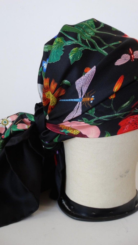1980s Gucci Black Flora Printed Silk Scarf For Sale 9