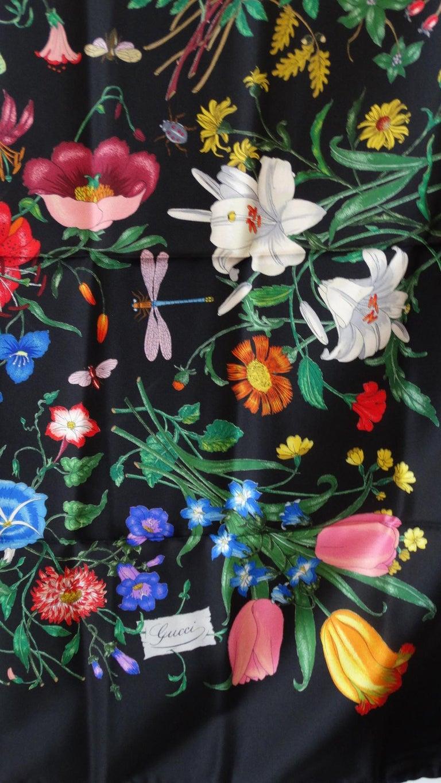1980s Gucci Black Flora Printed Silk Scarf For Sale 10