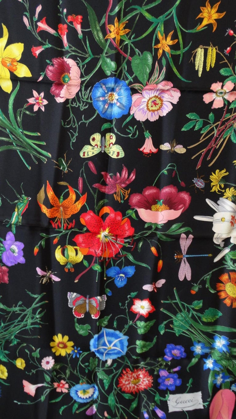 1980s Gucci Black Flora Printed Silk Scarf In Excellent Condition For Sale In Scottsdale, AZ