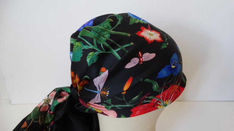 1980s Gucci Black Flora Printed Silk Scarf For Sale 1