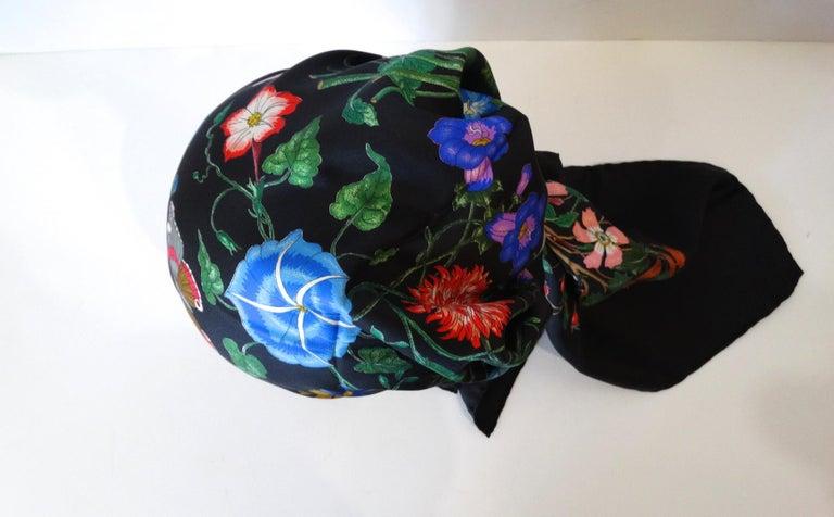 1980s Gucci Black Flora Printed Silk Scarf For Sale 4