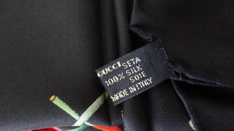 1980s Gucci Black Flora Printed Silk Scarf For Sale 5