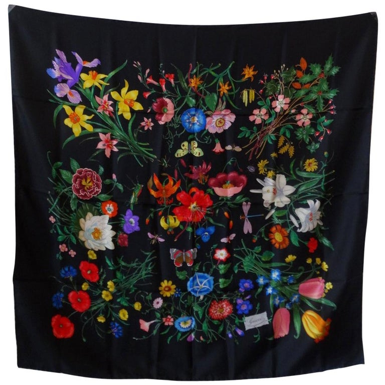 1980s Gucci Black Flora Printed Silk Scarf For Sale