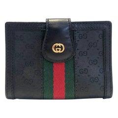1980s Gucci Black Monogram Leather Cloth Web GG Logo Wallet