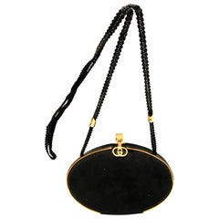 1980s Gucci Black Suede Shell Shaped Evening Box Bag