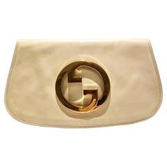 1980s Gucci Blondie Unicorn Ivory Cream Leather Clutch Bag