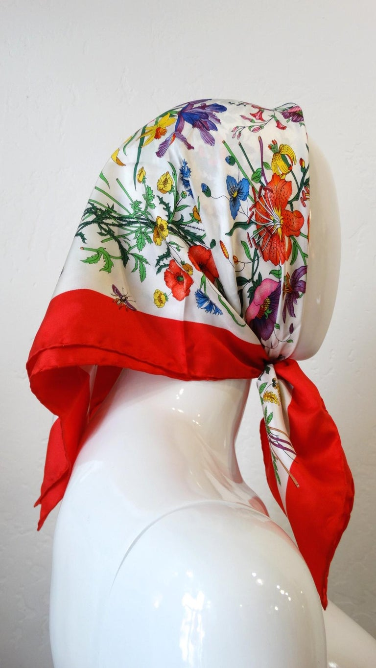 1980s Gucci Iconic Flora Motif Scarf For Sale 6