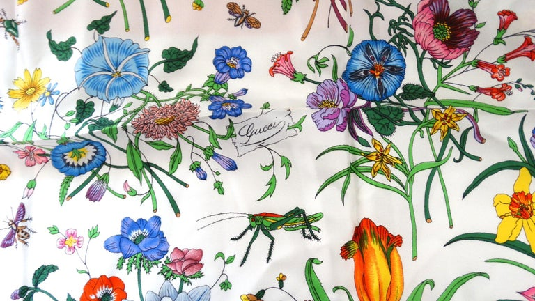 1980s Gucci Iconic Flora Motif Scarf For Sale 1